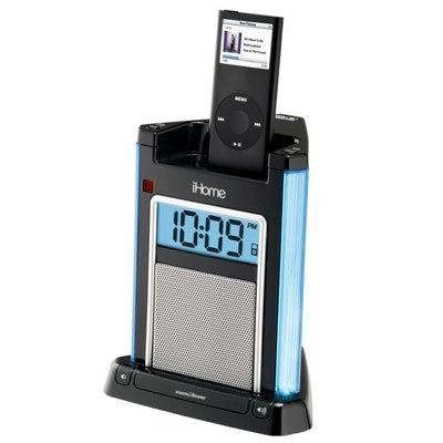 iHome iH4 Alarm Clock Speaker System with Dock for iPod (Black) (With Radio Ipod Dock Nano Clock)
