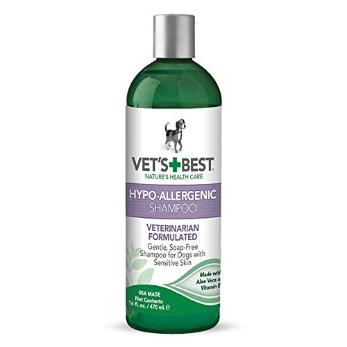 (Vet's Best Hypo-Allergenic Shampoo for Dogs | Dog Shampoo for Sensitive Skin | Relieves Discomfort from Dry, Itchy Skin | Cleans, Moisturizes, and Conditions Skin and Coat | 16 Ounces)
