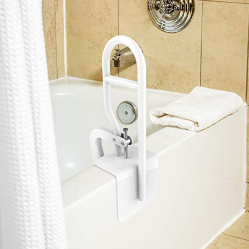 Bluestone Bathtub Safety Bar - Heavy Duty Bathroom Stabilizer Grab Rail - Mobility and Support Assistance with Adjustable Clamp and Rubber Grips