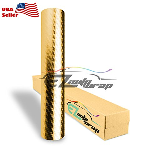 EZAUTOWRAP 3D Chrome Gold Carbon Fiber Car Vinyl Wrap Sticker Decal Sheet Bubble Free - 4