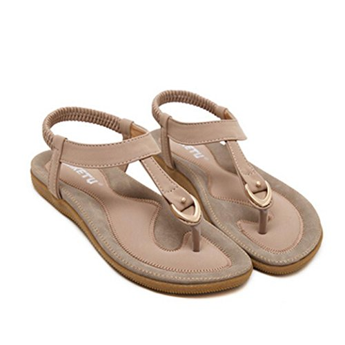 Sandalias de vestir, Ouneed ® Las mujeres Bohemia de moda sandalias planas casuales playa Rosado