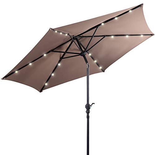 Giantex 9ft Market Patio Umbrella w/Solar Lights, Outdoor Table Umbrella w/Push Button Tilt and Crank, 180G Polyester and Sturdy Ribs, Sun Umbrellas for Market Garden Beach Pool (Tan)