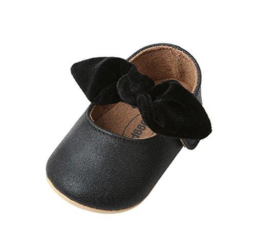 Bebila Baby Girls Shoes Mary Jane Hard Sole Sandals PU Leather Newborn Shoes Bow-KnotToddler Moccasins (13cm(12-18months), Black) -
