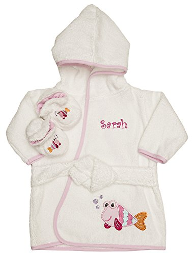 PERSONALIZED Monogrammed Pink Fish Terry Hooded Bath Robe & Slipper Set Sz 0-9 Mo