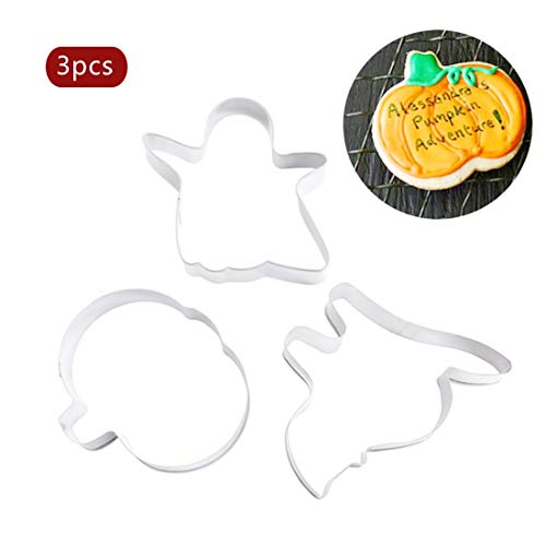Soap Mold - 3pcs Set Stainless Steel Cake Stencil Halloween Scenario Pumpkin Cats Shape Cookie Cutters Biscuit - Birthday Stainless Cakes Sheet Template Decorating Stripe Stencils Building