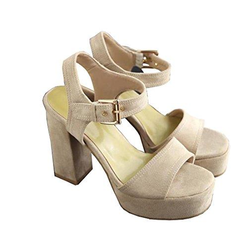 Heel Platform Ankle Sandals Beige Ladies Strap Chunky Shoes VECJUNIA Elegant 4gxwIqgU