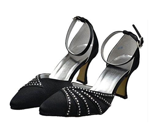 Minishion Womens Kitten Heel Satin Evening Party Bridal Wedding Sparkle Strappy Shoes Pumps Black-8cm Heel