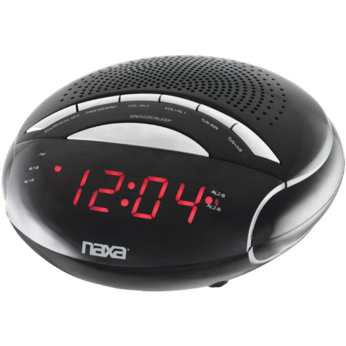 NAXA Electronics NRC-170 PLL Digital Dual Alarm Clock with AM/FM Radio and Snooze (Black Lacquer) (Digital Clock Small Plug)