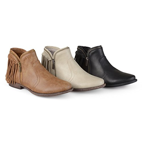 Brinley Co. Womens Fringed Almond Toe Riding Booties