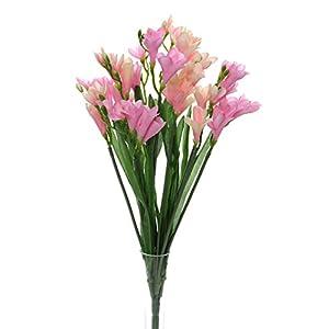 Bush of 12 Artificial Silk Freesia Stems (Pink Colour) 53
