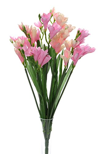 Bush of 12 Artificial Silk Freesia Stems (Pink Colour) ()