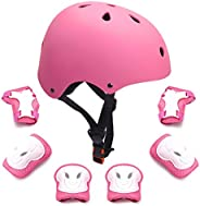 Kids Bike Helmet Toddler Helmet Boys Girls Adjustable Kids Helmet with Knee Elbow Pads Wrist Guards for Cyclin