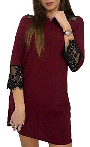 Jaycargogo Femmes Crochet Coutures Dentelle Mode 3/4 Robes Manches Vin Rouge