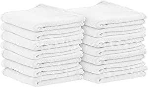 Shop Towels (Pack of 100, 13 X 13 Inches) Commercial Grade Machine Washable Cotton Washcloths White Shop Rag - Perfect for Auto Mechanic Work and Bar Mop by Utopia Towel (White)