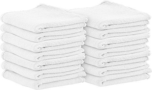 Shop Towels (Pack of 100, 13 X 13 Inches) Commercial Grade Machine (White Washcloth)