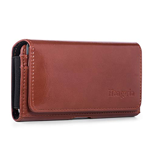 Hengwin Smooth Leather Holster Phone Case Horizontal Holster Cellphone Belt Case for iPhone 6 7 8 Men Purse Belt Loop Pouch Case Waist Bag Small Wallet with Card Slot (Brown)
