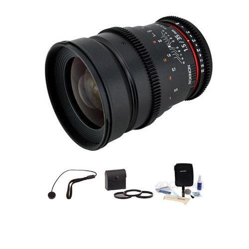 Rokinon 35mm T1.5 Cine Lens for Sony E, BUNDLE #CV35-NEX K by Rokinon