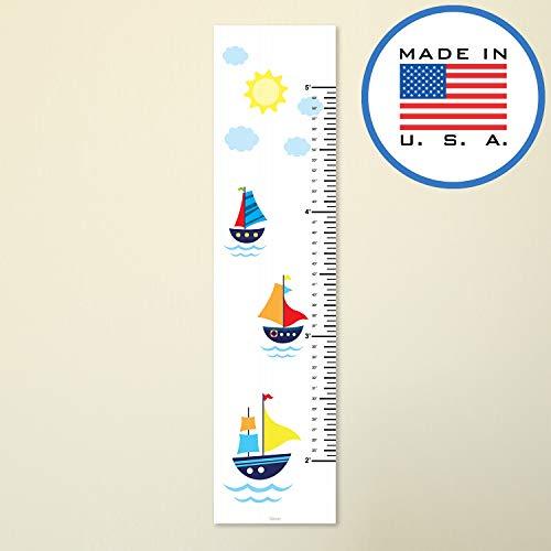 321Done Growth Chart, Sailboats Nautical Sailing Cartoon Boats, Baby Height Ruler, Premium Vinyl Nursery Wall Decor