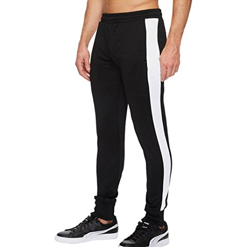 Realdo Men's Sportwear Trousers, Slack Loose Elastic Waist Solid Striped Harem Pants with Pocket (Black,X-Large)