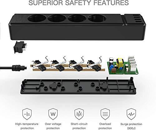 Charlemain Multiprise avec 4 Prises et 4 Ports USB, Bloc Multiprise Electrique pour Maison, Bureau