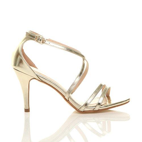 sandali Oro taglia alto matrimonio incrociato tacco cinghietti Donna Metallizzato medio sera wz08FnqZ