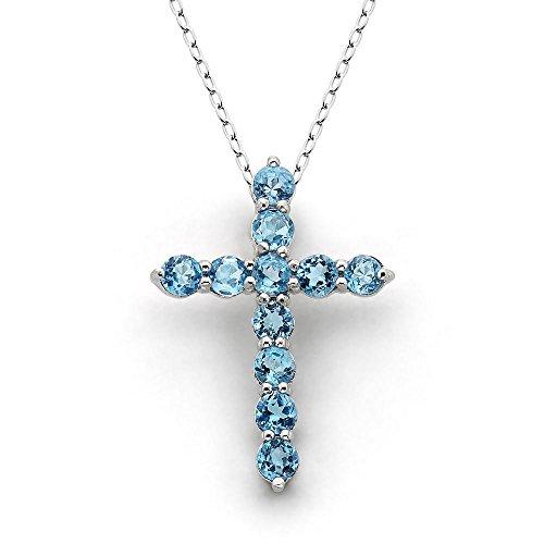 Genuine Stone Cross - Women's 3MM Round Sterling Silver Genuine Gemstone Cross Necklace (Blue Topaz)