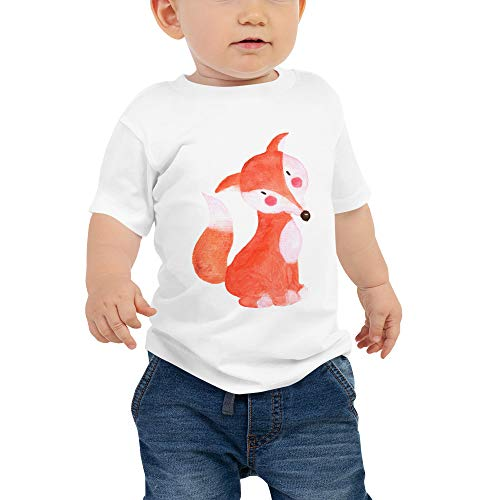 - Cute Drawn Fox Unisex Toddler 100% Cotton Tee Shirt, Woodland Animals, Baby Jersey Short Sleeve Tee