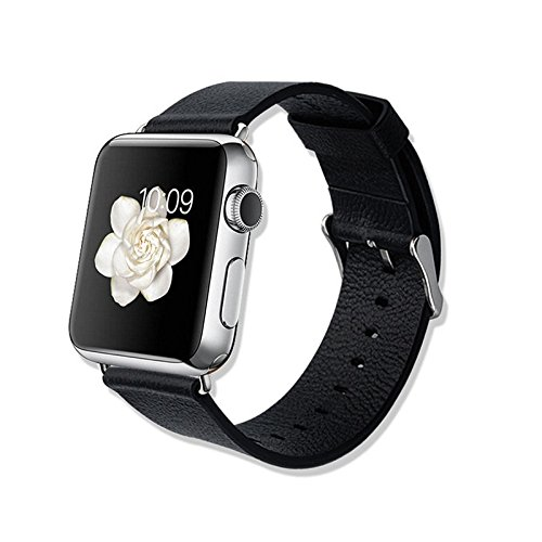"""Efanr® Black Replacement Watchband for Apple Watch - Fashion Luxury Geniue Leather Wristbands Classical Elegant Buckle Watch Band Strap for Apple Watch 2015 Sports / Stainless Steel / Edition -Compatible with Apple iPhone 5s/ iPhone 5c/ iPhone 6 4.7inch/ iPhone 6 Plus 5.5"""" (NO TOOLS) (42mm Watchband)"""