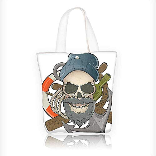 Canvas Tote Bag of Sailor Skull with Beard Mascot Theme Skeleton and Hanbag Women Shoulder Bag Fashion Tote Bag W16.5xH14xD7 -