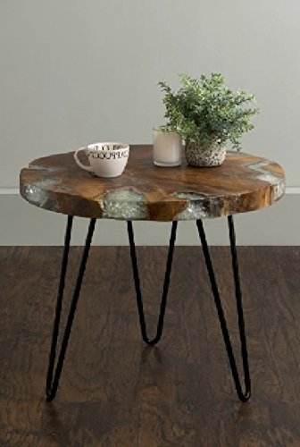 Round Wellton End Table With Storage Area Side Table Décor Coffee Table  Brown Cocktail Table Furniture