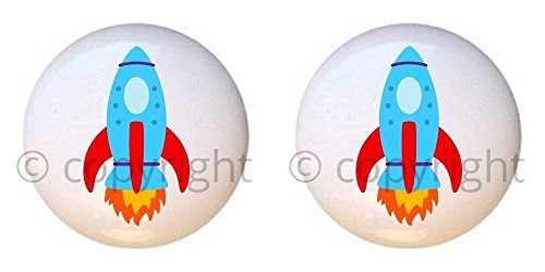 SET OF 2 KNOBS - Rocket Space Ship - Transportation II by PP - DECORATIVE Glossy CERAMIC Cupboard Cabinet PULLS Dresser Drawer KNOBS ()