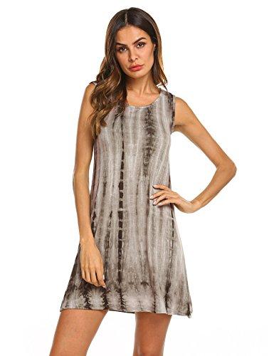 FineFolk Women's Tunic Swing T-Shirt Dress Short Sleeve Tie Dye Ombre Dress, A-pattern3-improve, X-Large