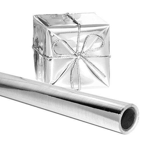Silver Gift Wrapping Paper 26 in. x 25 FEET Roll - PREMIUM Thick Shiny Metallic Deco Wrap Foil for Presents, Origami, Weddings, Embossing by Angel -