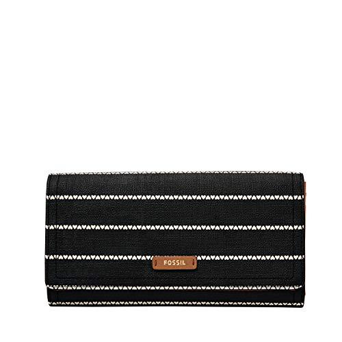 Fossil Women's Logan PVC Flap Wallet, Black/White