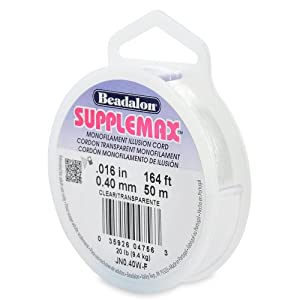 Beadalon Supplemax 0.40mm Nylon Bead Stringing Material, 50m, Clear