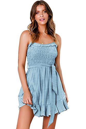 LOMON Tube Top Dresses for Women Tie Waist Adjustable Strap Ruffle Mini Dress (Light Blue,XL)
