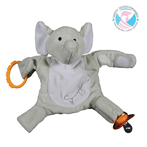 Snuggin - The Comforting Day and Night Lovey Miracle for Babies (Gray Elephant) - Plush Stuffed Animal Pacifier...