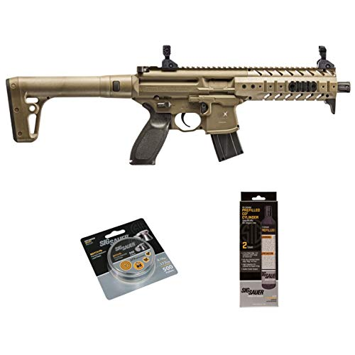 SIG Sauer MPX .177 Cal CO2 Powered Air Rifle with CO2 90 Gram (2 Pack) and 500 Lead Pellets Bundle (FDE, Folding Sights)