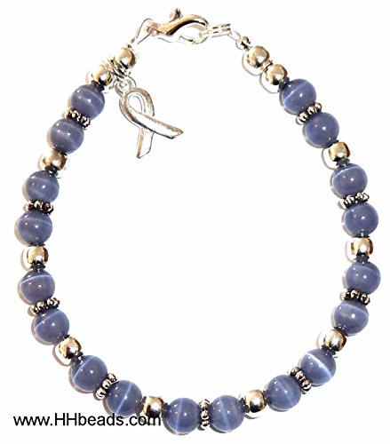Bracelet, Stomach Cancer Awareness or Fundraising Campaign, Periwinkle (7 ¾ in.), 6mm (Raised Plated Silver)