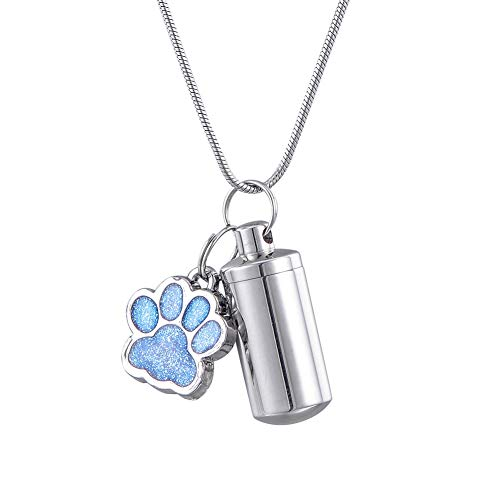 HooAMI Blue Paw Cylinder Memorial Urn Necklace Stainless Steel Cremation Jewelry for Ashes 2.8cmx1.1cm (Smooth Cylinder)