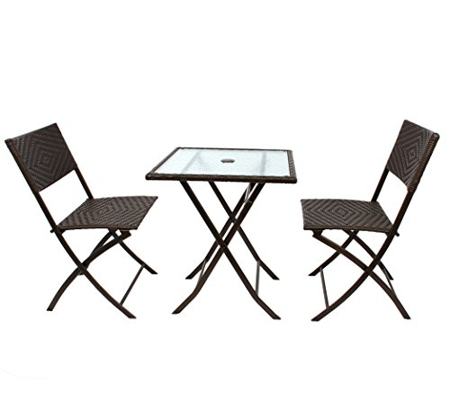3PC Rattan Steel Patio Folding Bistro Set Hand Woven Furniture Parma Style, All Weather Resistant Resin Wicker,Table and Chairs