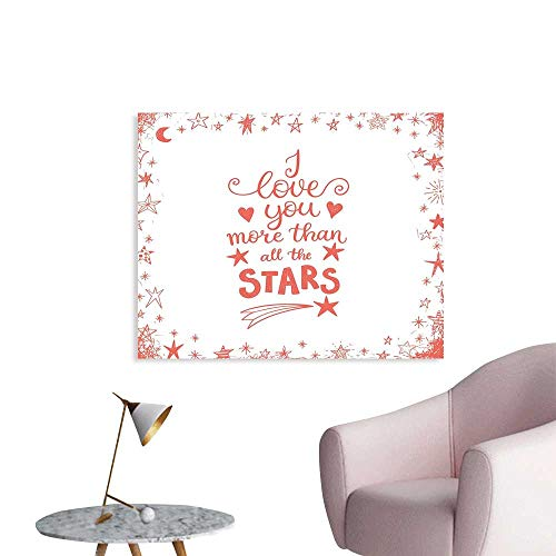 J Chief Sky I Love You More Custom Prints Poster Quote of Infatuation Surrounded by Stars Scribble Art for Valentines Mural Wallpaper W24 xL20 ()