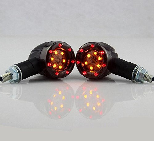 C&L Universal Motorcycle Amber Red LED Turn Signals Day Time (Kawasaki Zx10r 2005 Standard)