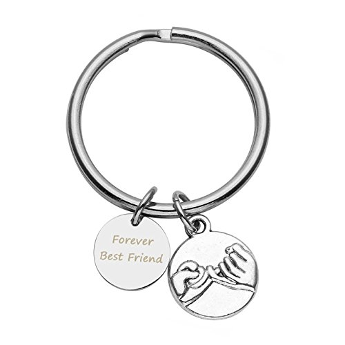 JOVIVI Custom Keychain - Personalized Engraved Silver Alloy Pinky Promise Charm Pendant Keychain Best Friend Keychain - Valentines Anniversary Gifts BBF Jewelry by Jovivi
