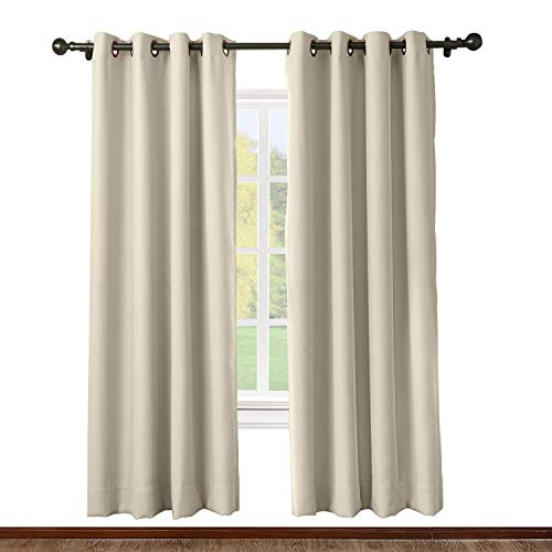 ChadMade Solid Thermal Insulated Blackout Curtains Drapes Antique Bronze Grommet/Eyelet Beige 52W x 84L Inch (Set of 2 -