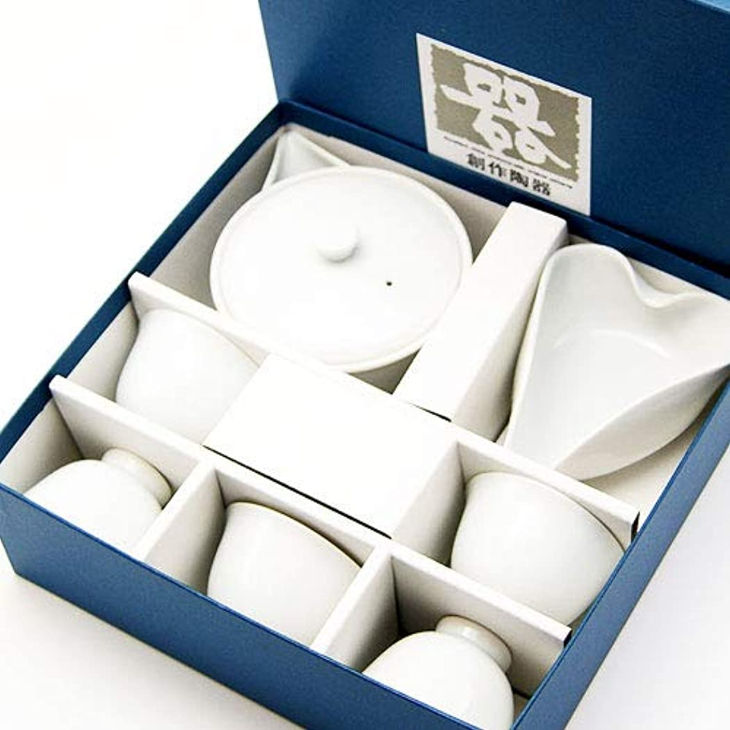 定期的な農業の略奪宝瓶 ? 湯冷まし ? 茶碗 セット 白磁 茶器