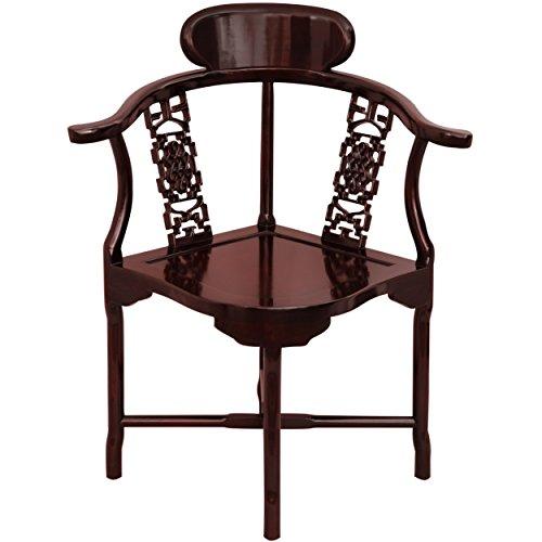 Oriental Furniture Rosewood Corner Chair - Rosewood by ORIENTAL FURNITURE