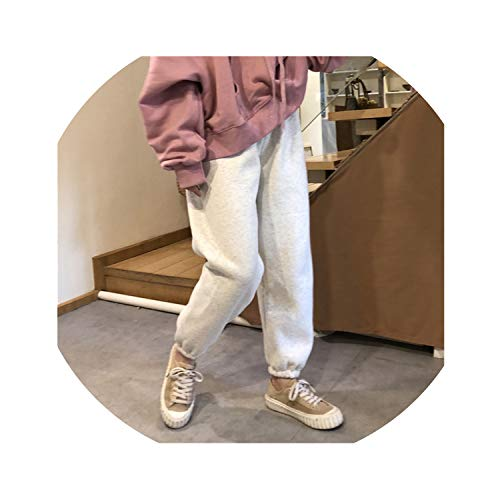 (Add Velvet Thicker Elastic Waist Pants Loose One Size Solid Color Cotton Harem Pants Casual Warm Belted Trousers,Light Grey,One Size)