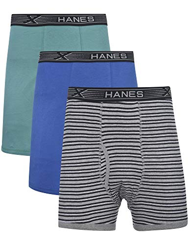 Hanes Mens 3-Pack Tagless 100% Cotton Boxer Briefs with X-Temp and FreshIQ Technology - Extended Sizes