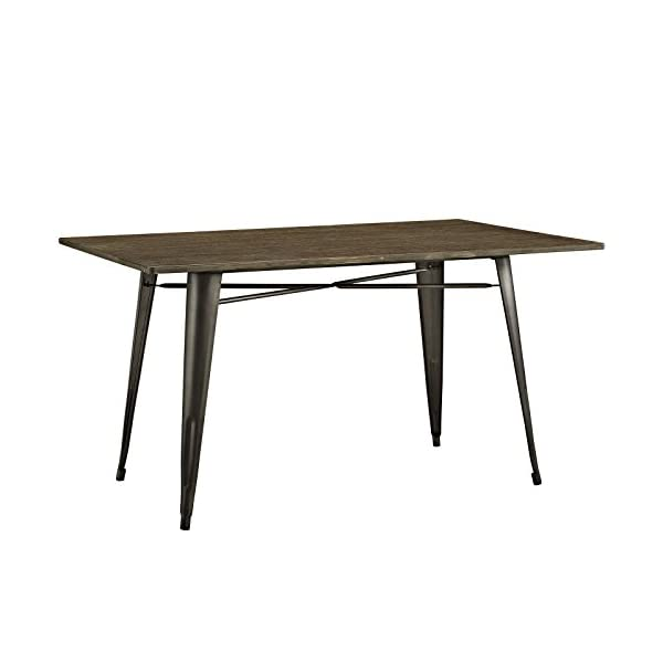 """Modway Alacrity 59"""" Rustic Modern Farmhouse Wood Rectangle Dining Table with Steel Legs in Brown"""
